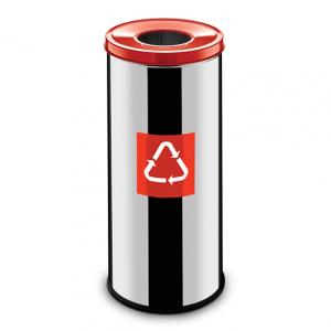Easybin Eco flex 50 Liter ronde gloss afvalemmer Rood