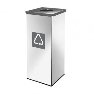 Easybin Eco flex 50 Liter vierkante afvalemmer Gloss Grijs