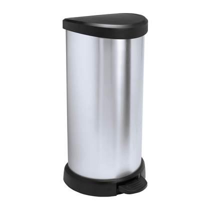 Curver Pedaalemmer Deco 40 L zilver 240637