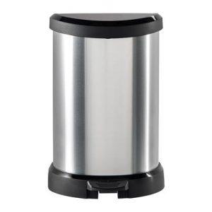 Curver Pedaalemmer Deco met binnenemmer 20 L zilver 240568