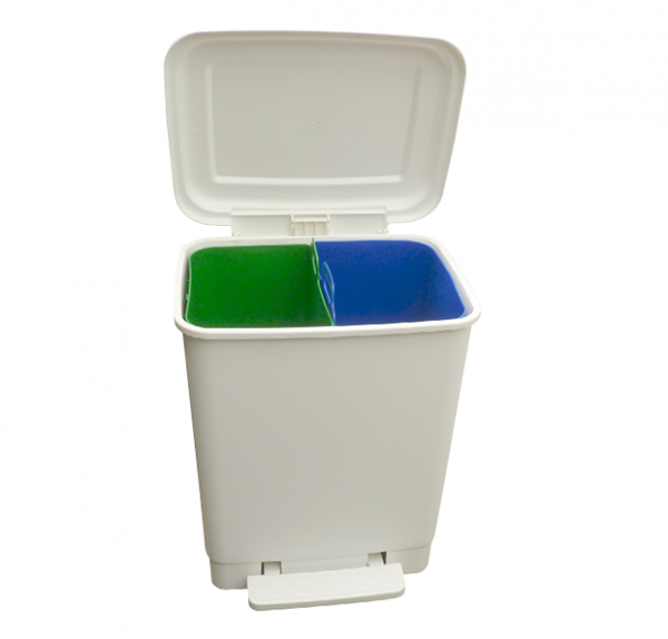 Easybin Duo 20 liter perdaal afvalemmer Wit