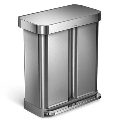 Simplehuman Rectangular Liner Pocket Pedaalemmer 58 Liter (34+24 L)