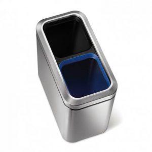 Simplehuman Slim Open Recycler Afvalemmer 20 Liter (2x10 Liter) Vingerafdrukvrij