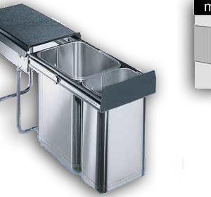 Wesco Inox-double 30 DT inbouw afvalemmer