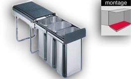 Wesco Inox-trio 30 DT inbouw afvalemmer