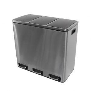 Trio afvalemmer/ pedaalemmer Coninx Steeldesign Rico 54 liter - RVS prullenbak keuken voor afvalscheiding
