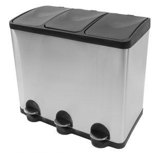 Afvalemmer met 3 vakken pedaalemmer Coninx Steeldesign Trio Maxi 60 liter