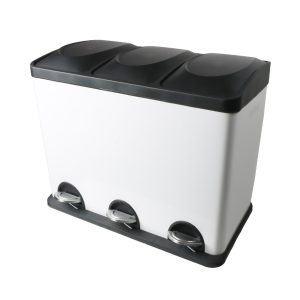 Afvalemmer/ pedaalemmer Coninx Steeldesign Trio + 45 liter Wit