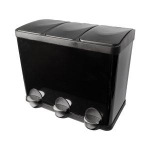 Afvalemmer/ pedaalemmer Coninx Steeldesign Trio + 45 liter Zwart
