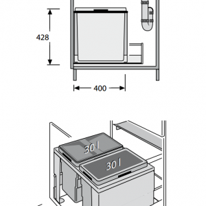 Afvalemmer Hailo Triple-XL 60 liter 3631-60