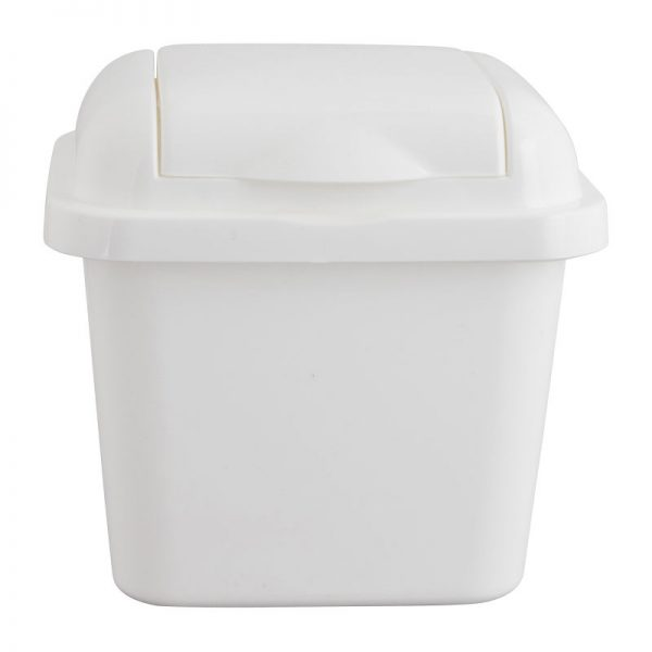 Mini afvalbakje - wit - 14x16x16 cm - Xenos
