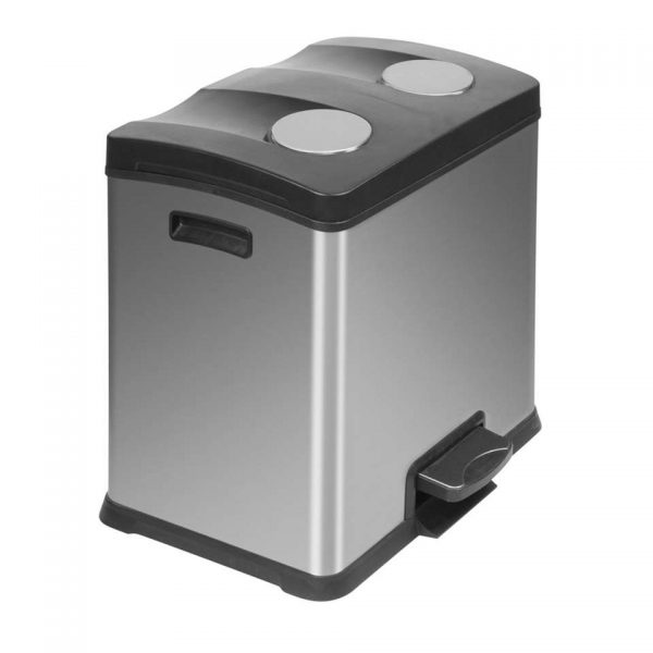 EKO recycling pedaalemmer Rejoice - zilverkleurig - 2x12l - Leen Bakker