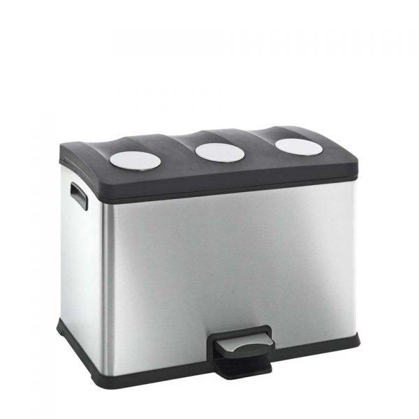 EKO recycling pedaalemmer Rejoice - zilverkleurig - 3x12l - Leen Bakker