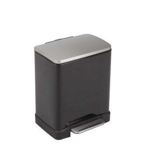 EKO recycling pedaalemmer E-Cube - zwart - 10+9l - Leen Bakker