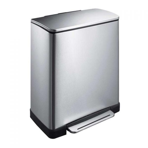 EKO recycling pedaalemmer E-Cube - zilverkleurig - 28+18l - Leen Bakker