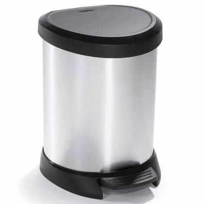 Curver Pedaalemmer met binnenemmer Deco 20 L zilverkleurig