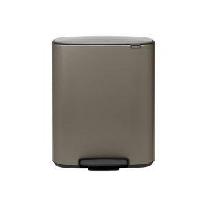 Brabantia Bo pedaalemmer 2 x 30 liter met 2 kunststof binnenemmer - Platinum