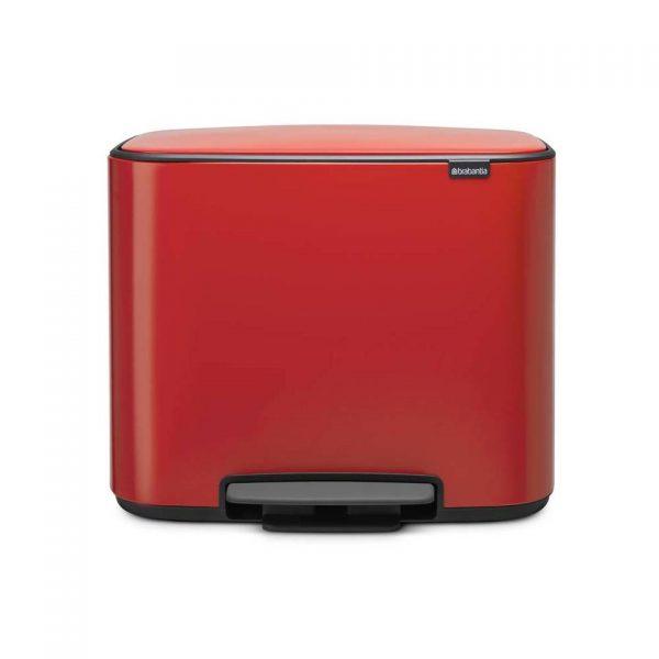 Brabantia Bo pedaalemmer met 3 kunststof binnenemmers - 3 x 11 liter - Passion Red