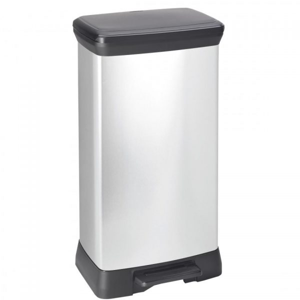 Curver Decobin afvalbak keuken - 50 liter - Zilver