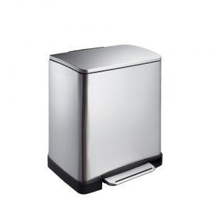 EKO E-Cube pedaalemmer afvalscheider- 10 + 9L - mat RVS