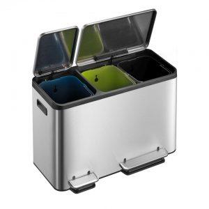 EKO EcoCasa pedaalemmer afvalscheider - 3 x 15L - mat RVS
