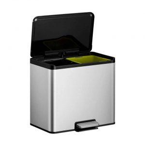 EKO Essential Recycler pedaalemmer afvalscheider - 2 x 15L - mat RVS