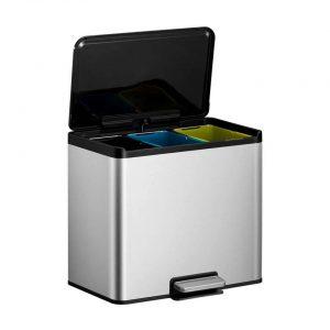 EKO Essential Recycler pedaalemmer afvalscheider - 3 x 9L - mat RVS