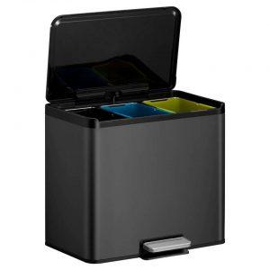 EKO Essential Recycler pedaalemmer afvalscheider - 3 x 9L - zwart