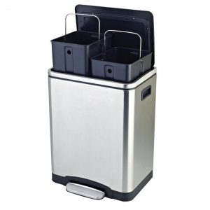 Easybin Silver Duo recycle bin - 2 x 15 l - RVS
