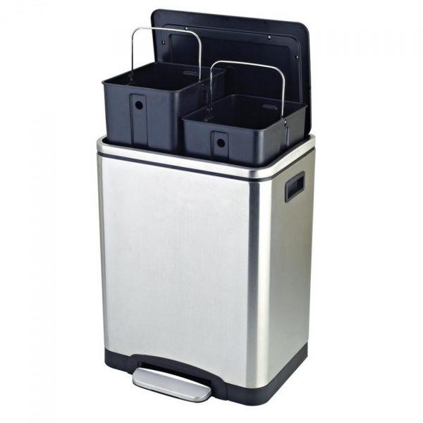 Easybin Silver Duo recycle bin - 2 x 15 l - RVS