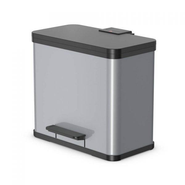 Hailo Öko Trio Plus afvalscheider - maat L - 3 x 9 liter - zilver