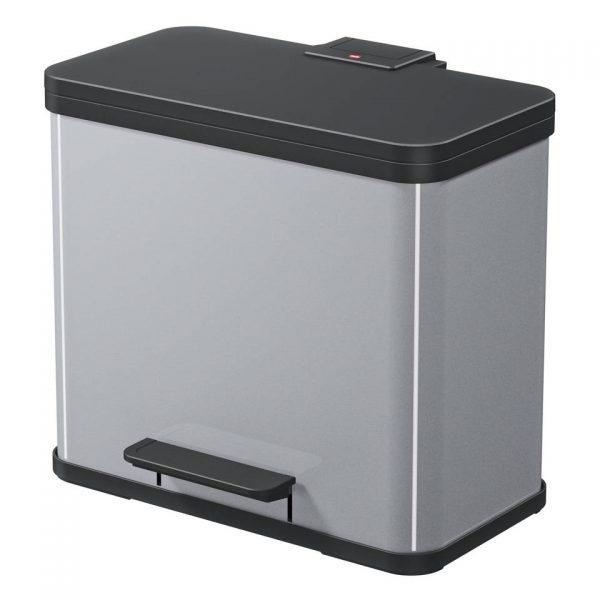 Hailo Öko duo Plus afvalscheider - maat L - 17 + 9 liter - zilver