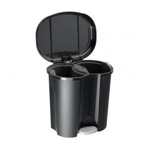 Rotho Duo pedaalemmer - 2 x 10 liter - zwart
