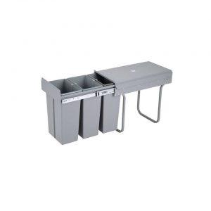 4cookz 3 vaks inbouw afvalscheidingsprullenbak 30cm Grijs - 3x 10 ltr