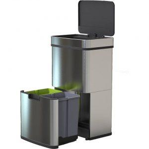 4cookz RVS Smart Waste afvalscheidingsprullenbak met sensor - 72 liter