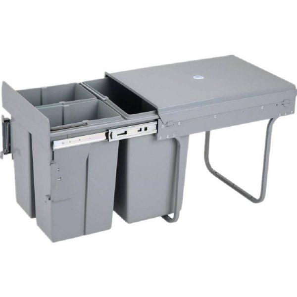 4cookz Trio inbouw afvalscheidingsprullenbak - 2x 10 en 1x 20 liter voor kastjes van 40 cm breed of meer .