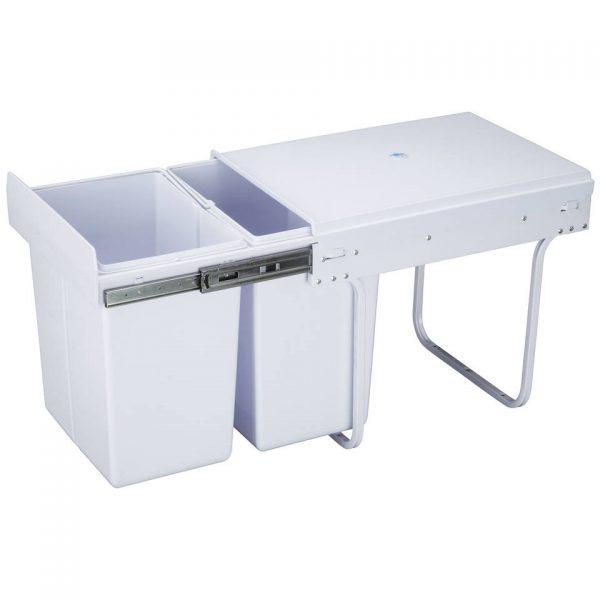 4cookz witte inbouw afvalscheidingsprullenbak 10+20 liter - 30cm breed