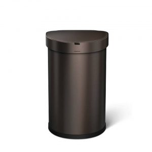 Afvalemmer Semi Round met Liner Pocket Rvs Sensor 45 liter - Brons -Simplehuman