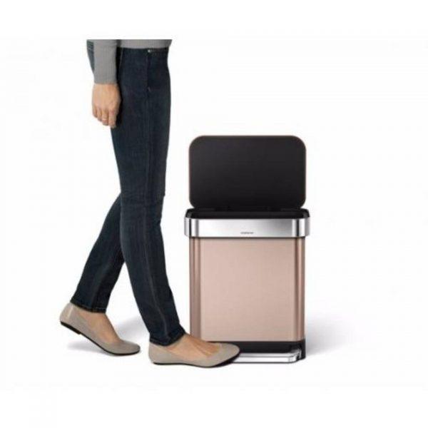 Afvalemmer rectangular - rvs - incl liner pocket - 30 l - rose gold - simplehuman