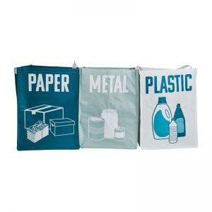 Afvaltassen - set van 3 - metaal/papier/plastic - Xenos