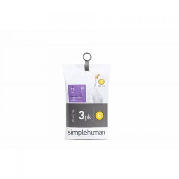 Afvalzak code e - voor pocket liners - 20 l - set van 3 x 20 stuks - simplehuman