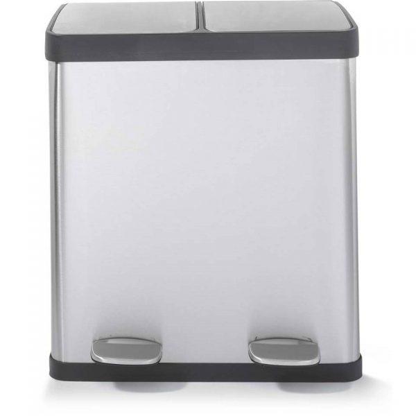 Blokker prullenbak met afvalscheider - zilverkleurig - 2 x 20 liter