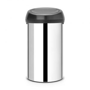 Brabantia Touch Bin afvalemmer - 60 liter - Brilliant Steel / Matt Black