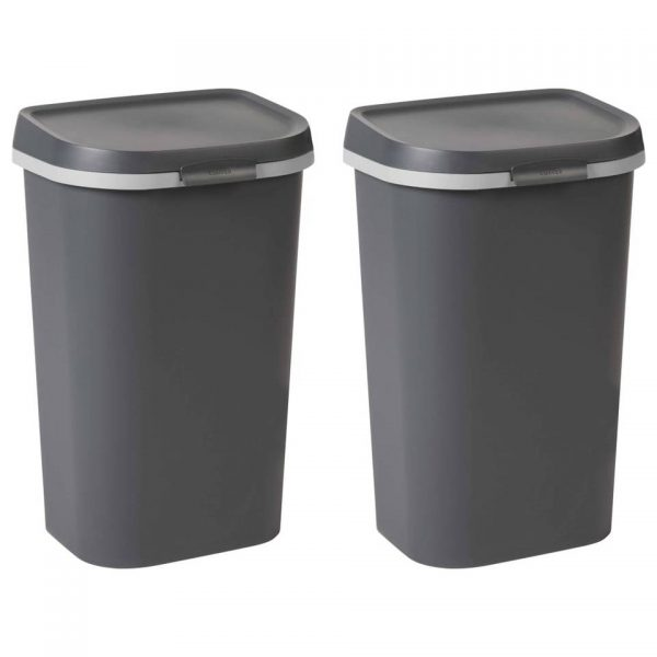 Curver Afvalbakken Mistral 2 st 100 L antraciet