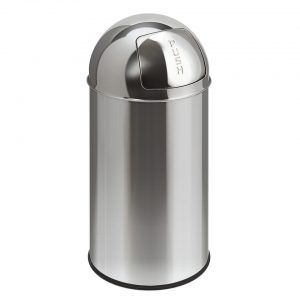EKO Pushcan afvalbak - 40 l - chroom