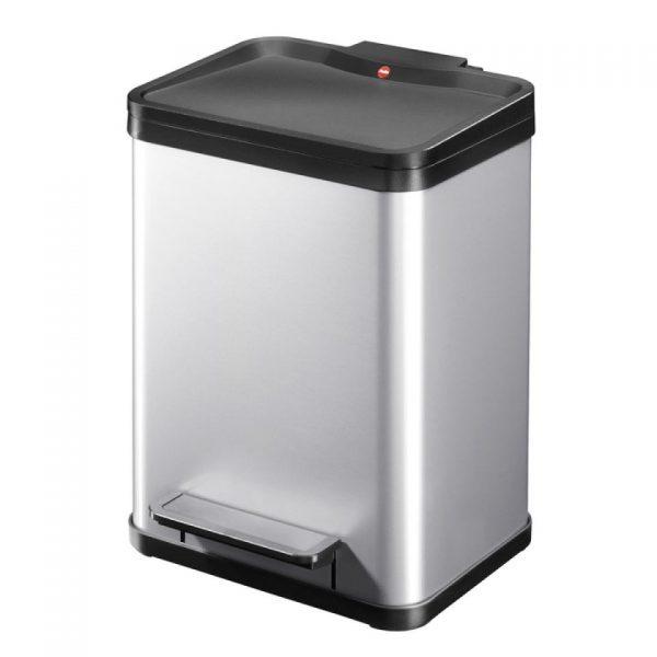Hailo Öko duo Plus afvalscheider - maat M - 2 x 9 liter - zilver