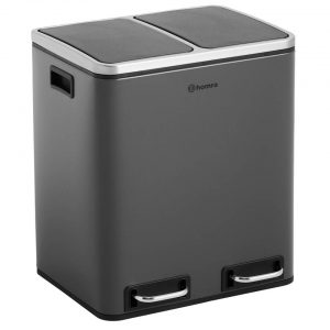 Homra BLINQ afvalscheiding prullenbak 2x15L - pedaalemmer 30L - Grijs