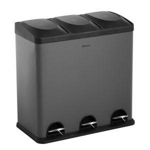 Homra MAXER afvalscheiding prullenbak 3x20L - Pedaalemmer 60L - Grijs