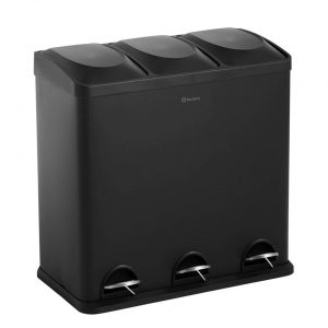 Homra MAXER afvalscheiding prullenbak 3x20L - Pedaalemmer 60L - Zwart
