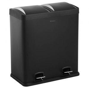 Homra NEVIQ afvalscheiding prullenbak 2x30L - Pedaalemmer 60L - Zwart